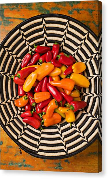 Condiments Canvas Print - Chili Peppers In Basket  by Garry Gay