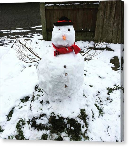 Snowball Canvas Print - Chilli Willy. #snowman #snowball by Nellie Mae