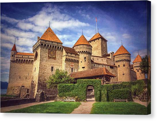 Fortification Canvas Print - Chillon Castle Montreux Switzerland  by Carol Japp