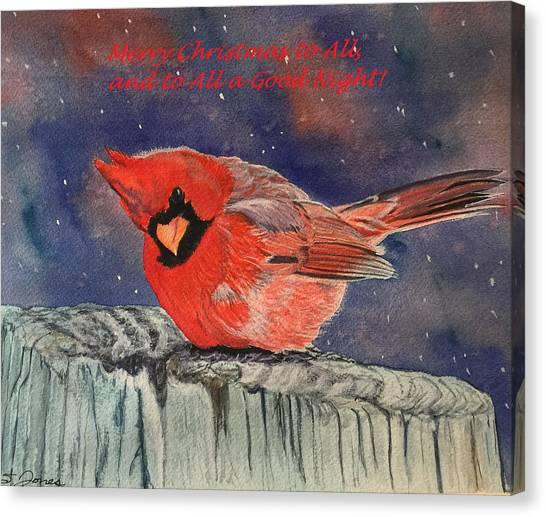 Chilly Bird Christmas Card Canvas Print
