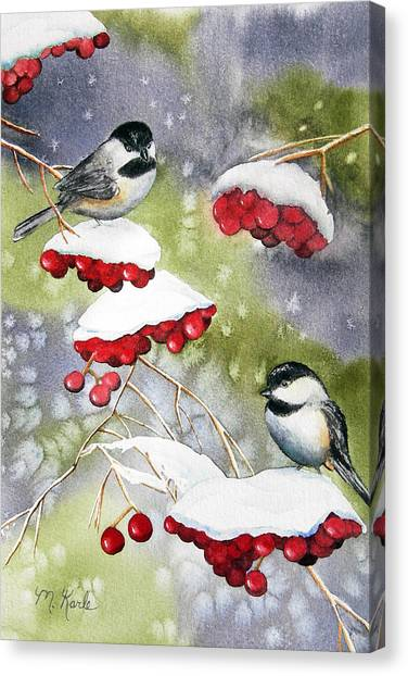 Chilly Chickadees Canvas Print