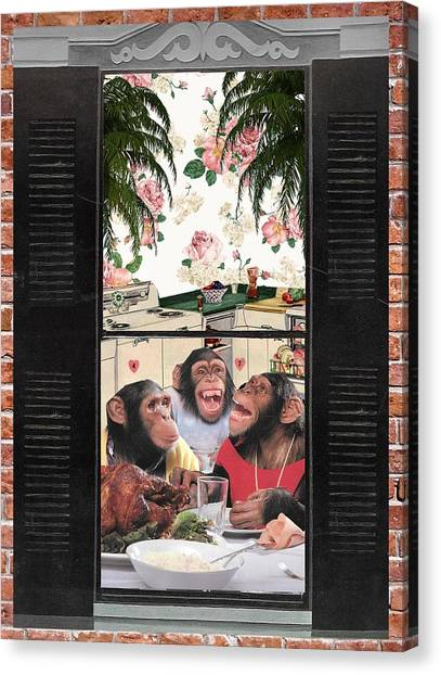 James Madison University Jmu Canvas Print - Chimp Family Values by Matt Jarrels