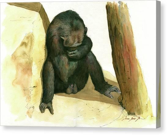 Chimpanzees Canvas Print - Chimp by Juan Bosco
