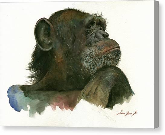 Chimpanzee Canvas Print - Chimp Portrait by Juan Bosco