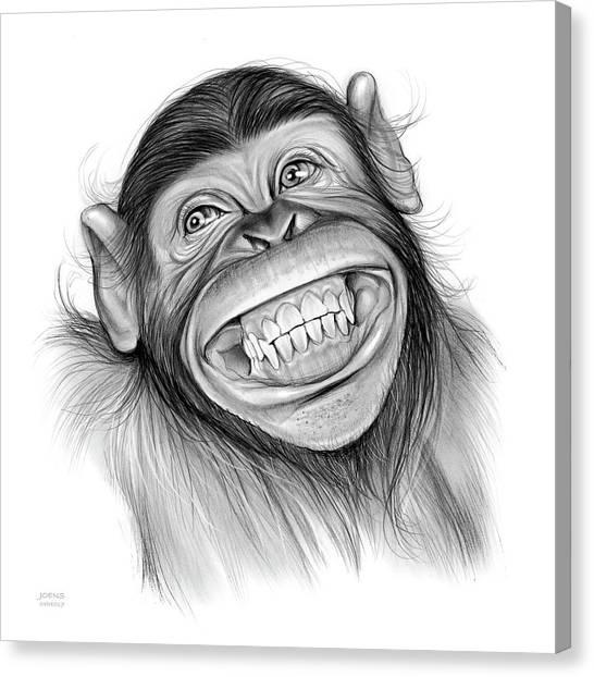 Chimpanzees Canvas Print - Chimpanzee by Greg Joens