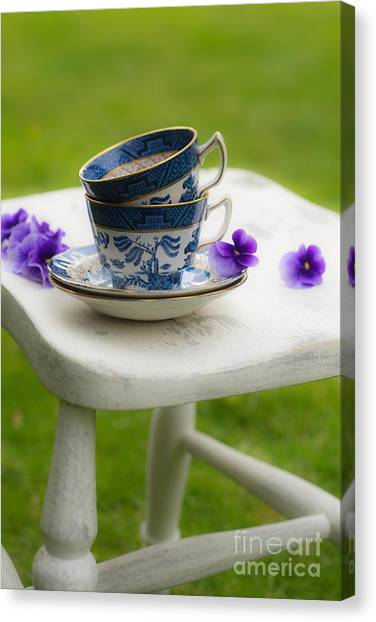 Saucer Canvas Print - China Cups by Amanda Elwell