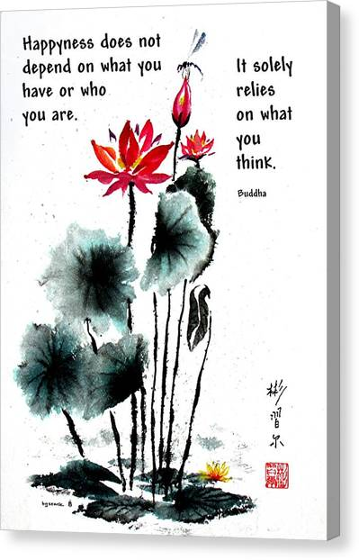 China Garden With Buddha Quote Canvas Print