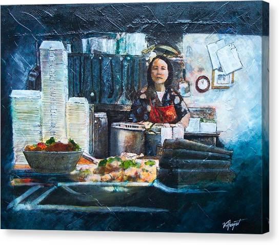China Kitchen Canvas Print by Victoria Heryet