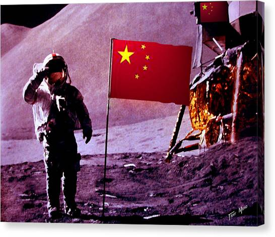 China On The Moon Canvas Print by Tray Mead