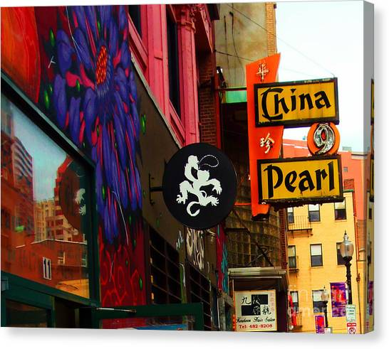 China Pearl Sign, Chinatown, Boston, Massachusetts Canvas Print