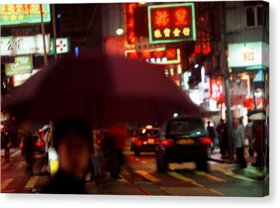 China Street Scene Hong Kong Canvas Print by Brad Rickerby