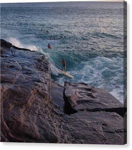 Surfing Canvas Print - China Walls Going Off! #surfing #hawaii by Brian Governale