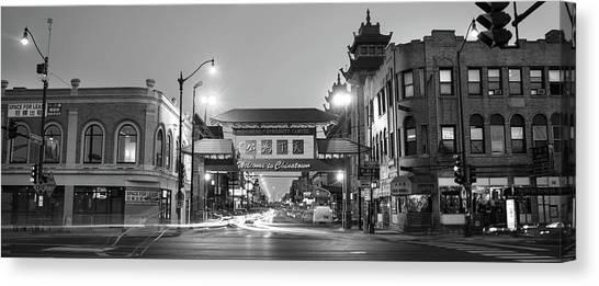 China Town Canvas Print - Chinatown Chicago Bw by Steve Gadomski