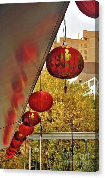 Chinese Restaurant Canvas Print - Chinatown - Chinese Lanterns by Kaye Menner
