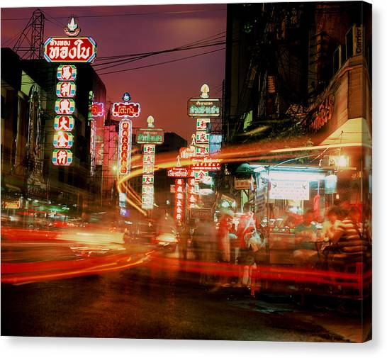 Chinatown In Bangkok Canvas Print by Brad Rickerby