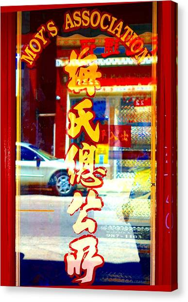 Canvas Print featuring the photograph Chinatown Window Reflection 1 by Marianne Dow