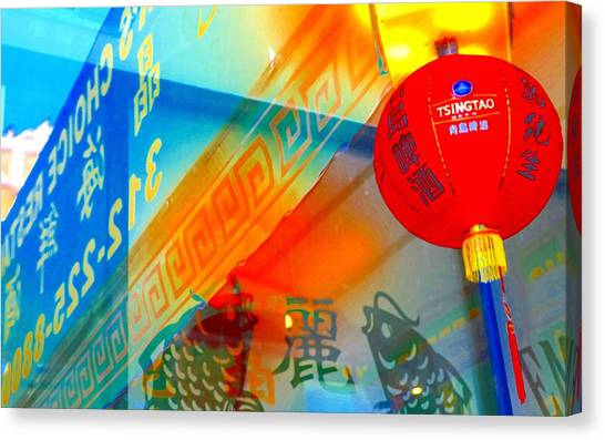 Canvas Print featuring the photograph Chinatown Window Reflection 3 by Marianne Dow