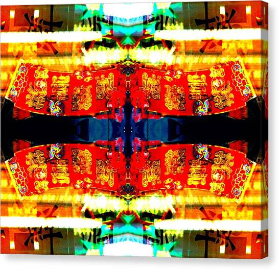 Canvas Print featuring the photograph Chinatown Window Reflection 5 by Marianne Dow