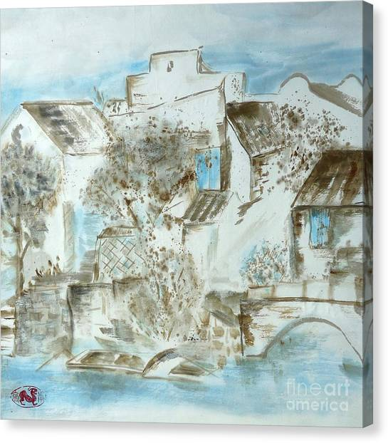 China Town Canvas Print - Chinese Water Town by Birgit Moldenhauer