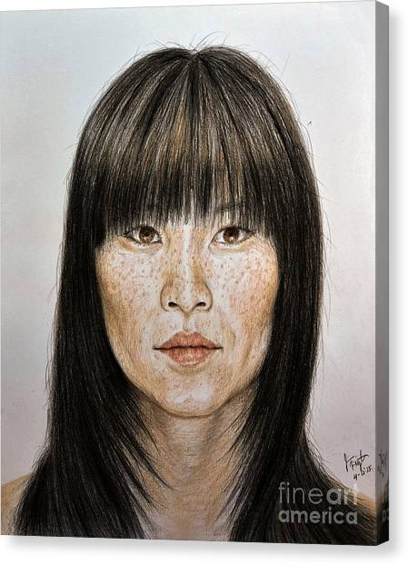 Lucy Liu Canvas Print - Chinese Beauty With Bangs by jim Fitzpatrick