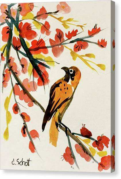 Chinese Bird With Blossoms Canvas Print