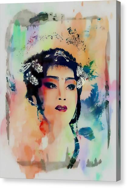 Chinese Cultural Girl - Digital Watercolor  Canvas Print