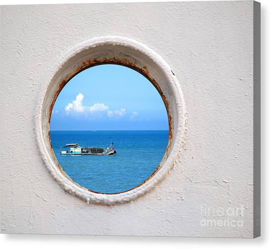 Chinese Fishing Boat Seen Through A Porthole Canvas Print
