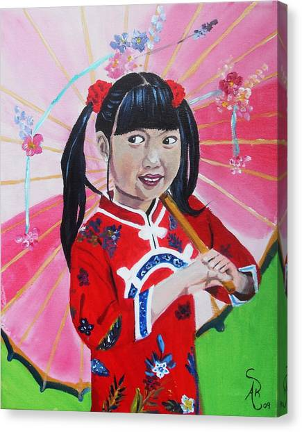 Chinese Girl Canvas Print by Andrea Realpe