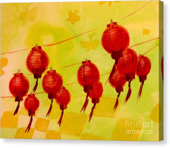 Canvas Print featuring the painting Chinese Lanterns by Maria Langgle