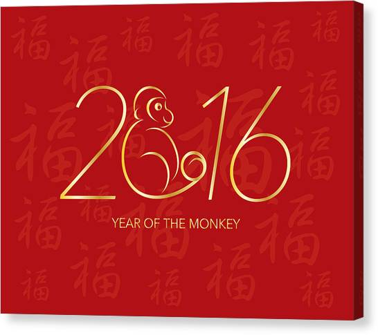 Chinese New Year 2016 Monkey On Red Background Illustration Canvas Print