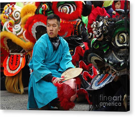 Chinese New Year Lion Dancers, Chinatown, Boston, Massachusetts, 2016 Canvas Print