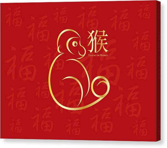 Chinese New Year Monkey On Red Background Illustration Canvas Print