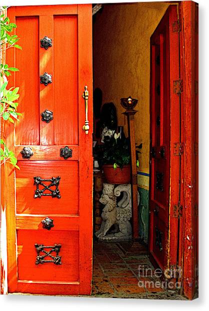 Chinese Red Shop Door Canvas Print by Mexicolors Art Photography