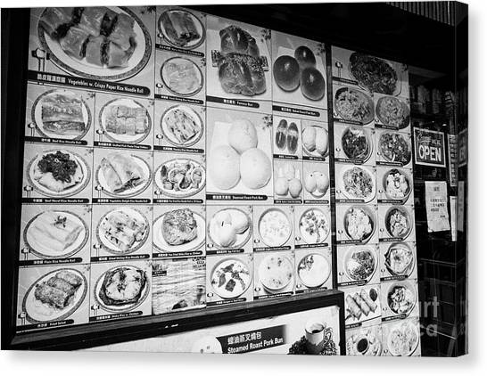 Chinese Restaurant Canvas Print - chinese restaurant menu with photos in chinatown New York City USA by Joe Fox