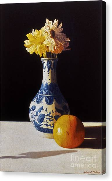 Chinese Vase And Orange Canvas Print by Daniel Montoya