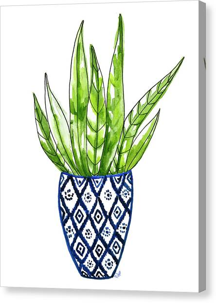 Cactus Canvas Print - Chinoiserie Cactus No2 by Roleen Senic