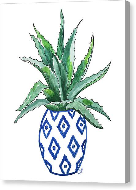 Succulent Canvas Print - Chinoiserie Cactus by Roleen Senic