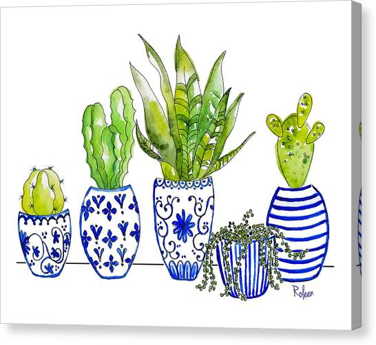 Cactus Canvas Print - Chinoiserie Collected by Roleen Senic