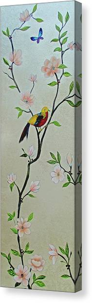 Pheasants Canvas Print - Chinoiserie - Magnolias And Birds #1 by Shadia Derbyshire