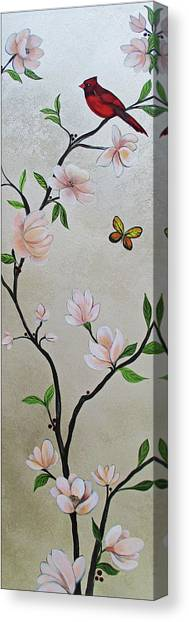 Pheasants Canvas Print - Chinoiserie - Magnolias And Birds #3 by Shadia Derbyshire
