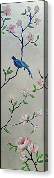 Pheasants Canvas Print - Chinoiserie - Magnolias And Birds #4 by Shadia Derbyshire