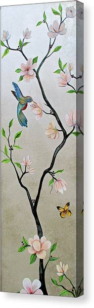 Peaches Canvas Print - Chinoiserie - Magnolias And Birds #5 by Shadia Derbyshire
