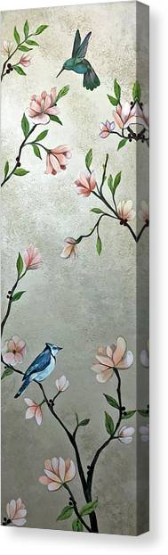 Pheasants Canvas Print - Chinoiserie - Magnolias And Birds by Shadia Derbyshire