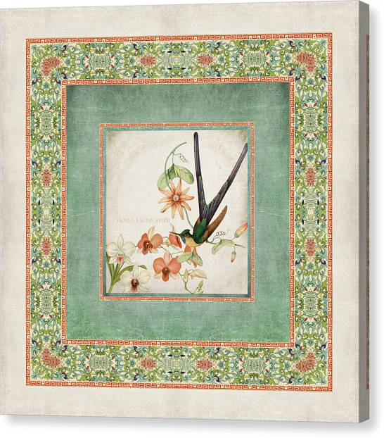 Chinoiserie Vintage Hummingbirds N Flowers 3 Canvas Print