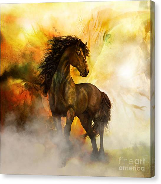 Black Stallion Canvas Print - Chitto Black Spirit Horse by Shanina Conway