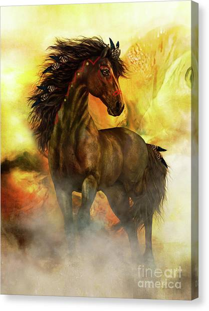 Black Stallion Canvas Print - Chitto Spirit Horse by Shanina Conway
