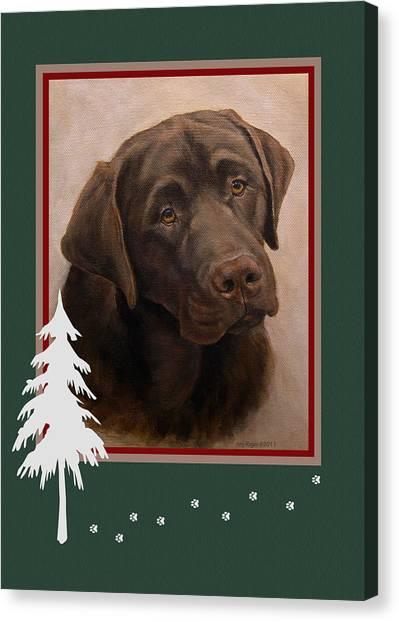 Chocolate Labrador Portrait Christmas Canvas Print