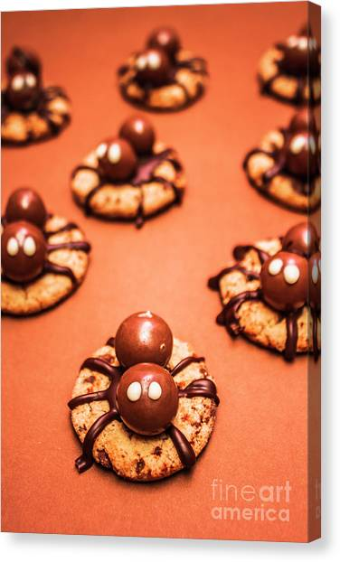 Spiders Canvas Print - Chocolate Peanut Butter Spider Cookies by Jorgo Photography - Wall Art Gallery