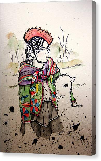 Cholitas Canvas Print - Cholita Y Llama by Carolina Villa