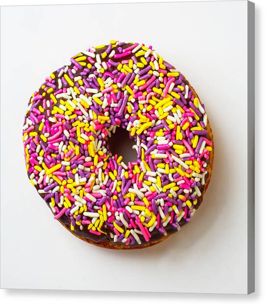 Doughnuts Canvas Print - Cholocate Donut With Sprinkles by Garry Gay